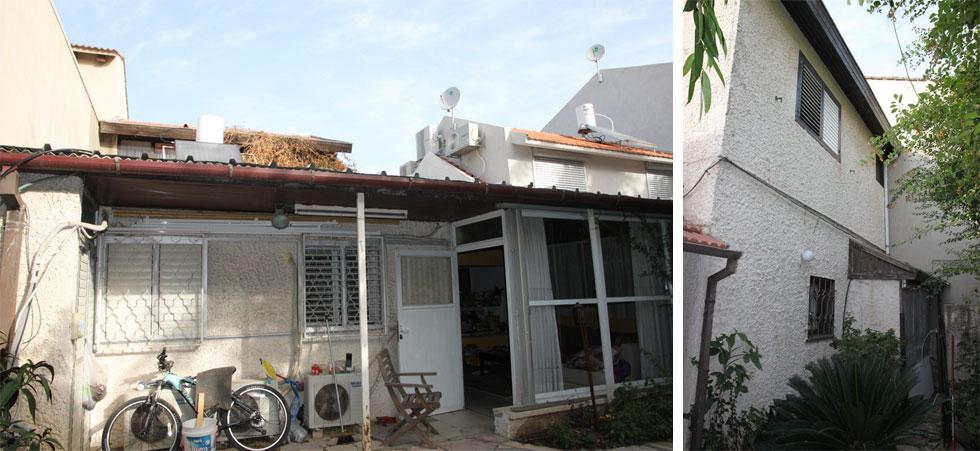 לפני השיפוץ, מלפנים (בתמונה מימין) ומאחור. המשפחה חיה כאן עשר שנים, לפני שהחליטו לשפץ (צילום: אמיצי אדריכלים)