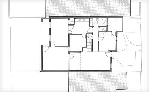 תוכנית קומת הכניסה, לפני השיפוץ (תוכנית: אמיצי אדריכלים)