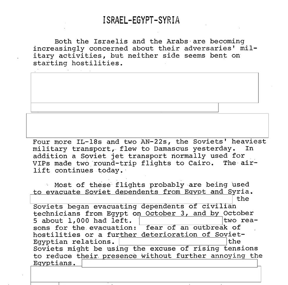 דיווח ה-CIA, ביום פתיחת המלחמה ()