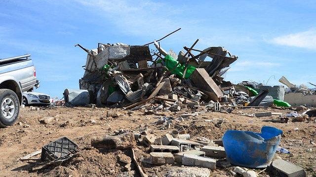 הריסת הבתים באום אלחיראן (צילום: הרצל יוסף) (צילום: הרצל יוסף)