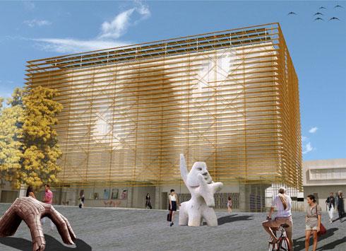 הדמיית בניין ''מנשר'' בתכנון ארז אלה, שאמור להתמקם במתחם - אך הפרויקט אינו מתגשם כבר כמה שנים (הדמיה: HQ אדריכלים)