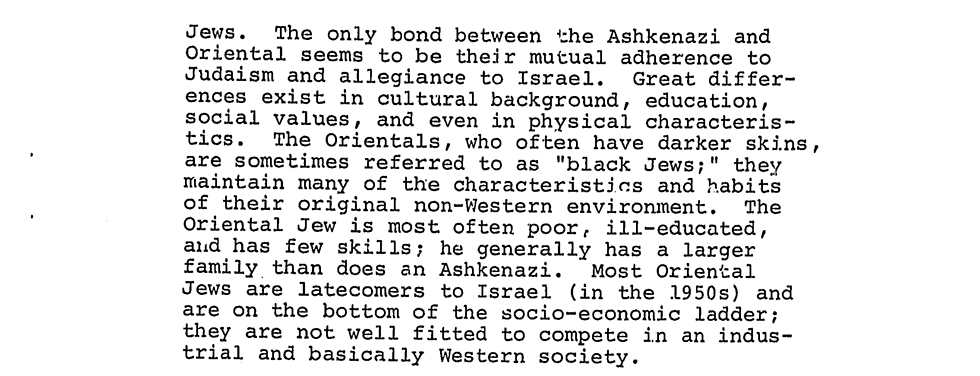 The CIA on ethnic tensions in Israel
