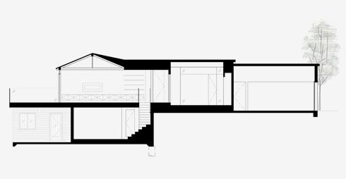 חתך הבית (תוכניות: אקסלרוד אדריכלים)