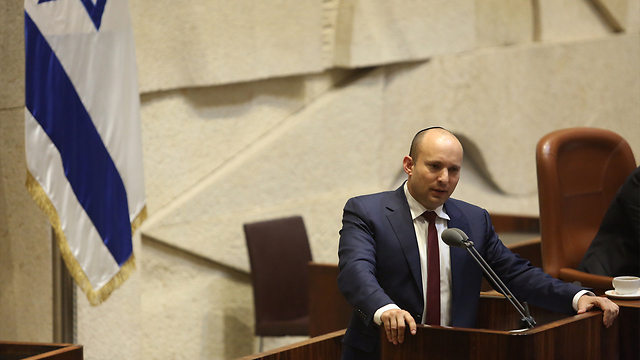 Naftali Bennett speaking before the Knesset (Photo: Gil Yohanan) (Photo: Gil Yohanan)