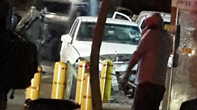 Scene of the attempted vehicular attack (Photo: Elazar Israeli)