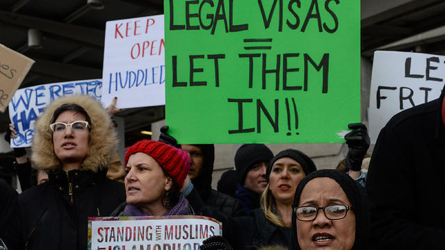 Anti Muslim ban protest at JFK (Photo: AFP) (Photo: AFP)