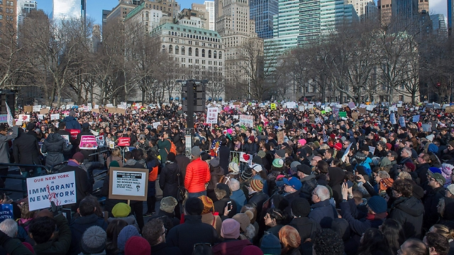 Manhattan protest. Included quite a few religious Jews (Photo: AFP)