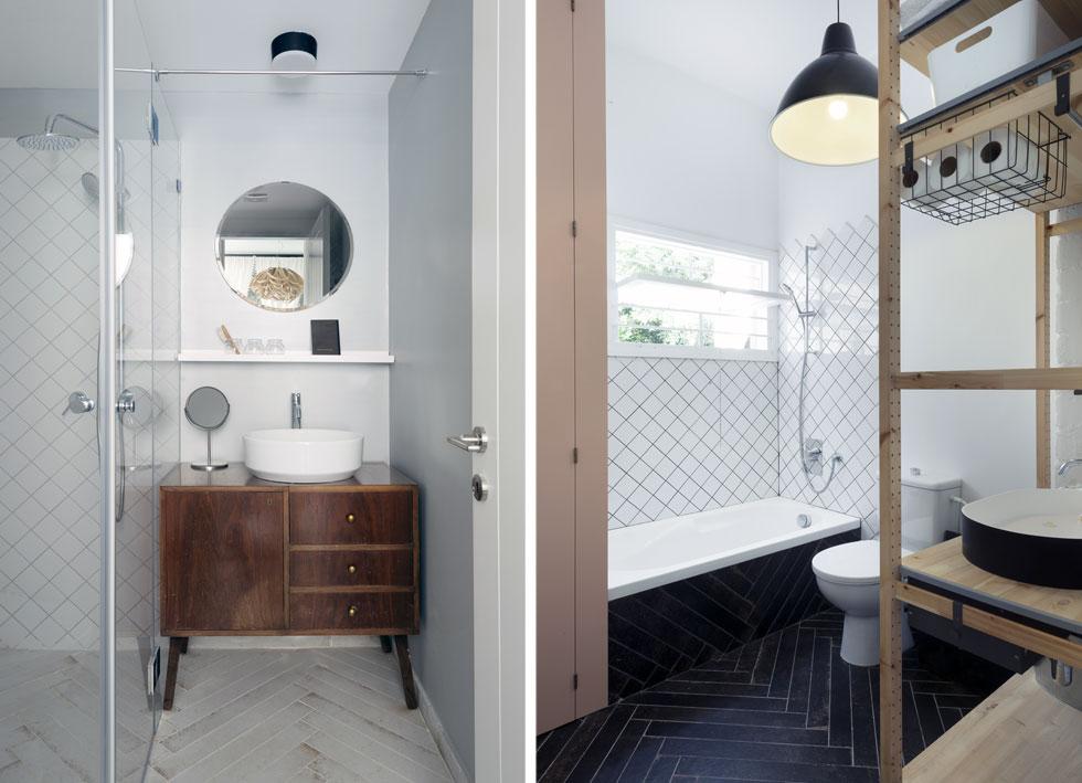 מימין חדר הרחצה העיקרי, ומשמאל מקלחון ההורים. הם מסבירים שאין הפרדה, וכולם משתמשים בחדרי הרחצה לפי החשק והצורך (צילום: גדעון לוין)