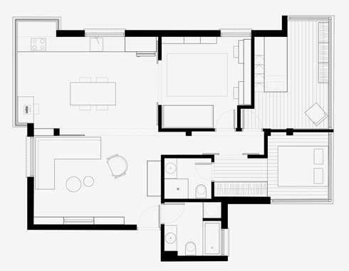 התוכנית אחרי השיפוץ. מרפסת אחת נבלעה במטבח החדש, השנייה הפכה לשני חדרי שינה קטנים (תוכניות: סטודיו מטקה)