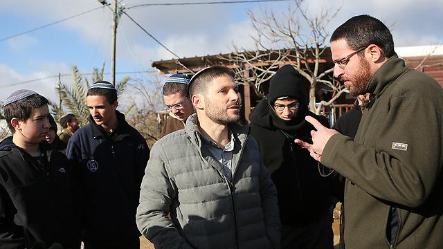 Bayit Yehudi MK Bezalel Smotrich in Amona (Photo: Alex Kolomoisky)