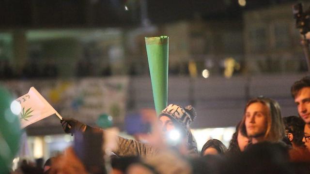 התמונה לקוחה מתוך הפגנה בכיכר רבין בתל אביב בעד ליגליזציה (צילום: מוטי קמחי) (צילום: מוטי קמחי)