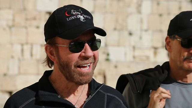 Norris, with the Western Wall in the background