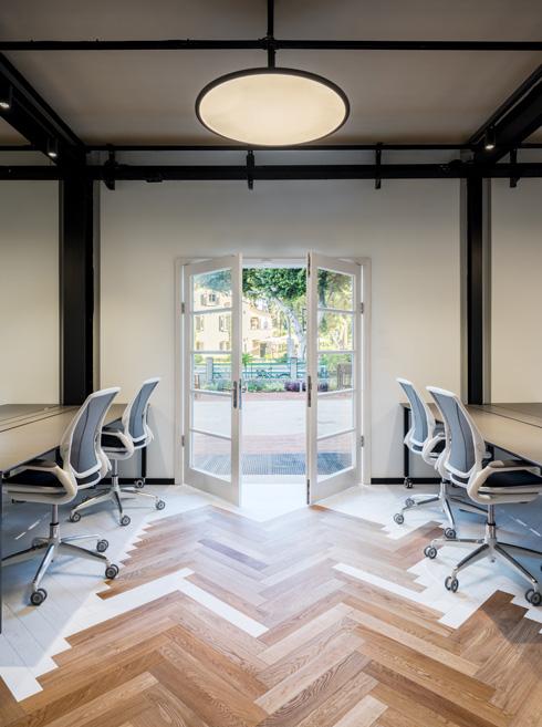 מוטיב אדרת הדג חוזר בצפיפות משתנה בכל המשרדים. ההיתר לשנות את חזית המבנה אפשר את פתיחתה לחצר פרטית (צילום: יואב פלד)