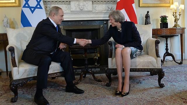 Netanyahu with Theresa May, London (Photo: Kobi Gideon/GPO)