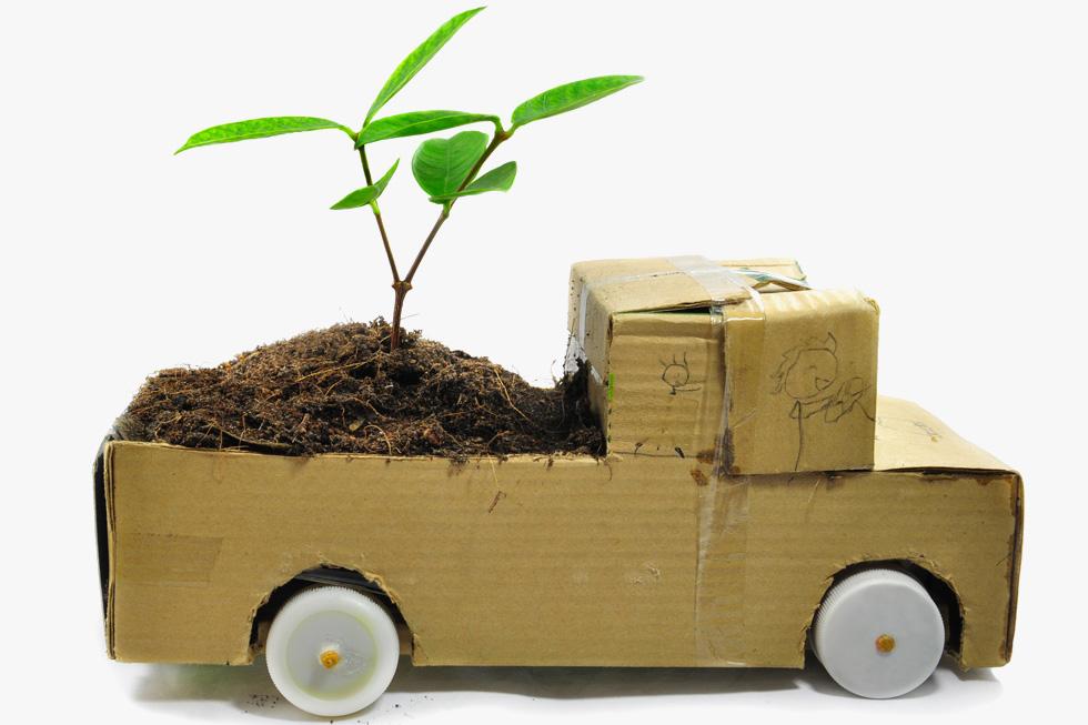כך נוסעים הנוטעים: מאוירים בסגנון חופשי, ובתוך משאית מקרטון ממוחזר  (צילום: Shutterstock)