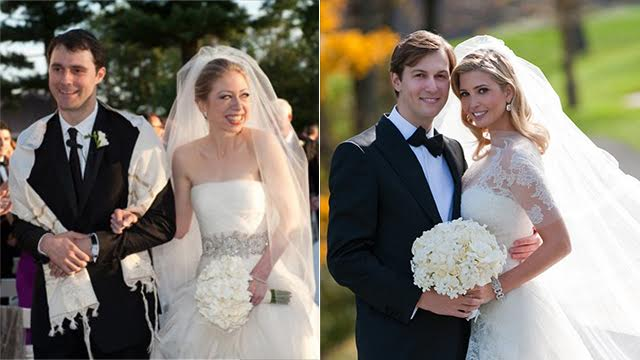 Ivanka Trump and Jared Kushner (R), Chelsea Clinton and Marc Mezvinsky. 'Fifty years ago, no one would have imagined that the US president's daughter would convert and marry a Jewish guy' (Photos: Getty Images, AP)