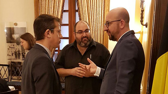 Belgian prime minister Charles Michel with Breaking the Silence and B'Tselem representatives. 'It's important that Israel maintains a vibrant civil society'