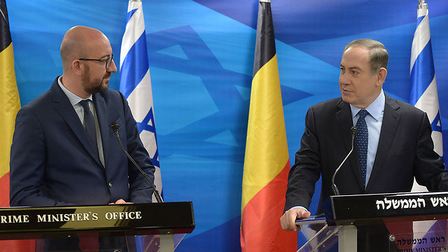 PM Netanyahu and Belgian PM Michel (Photo: Amos Ben Gershom/GPO) (Photo: Amos Ben Gershom/GPO)