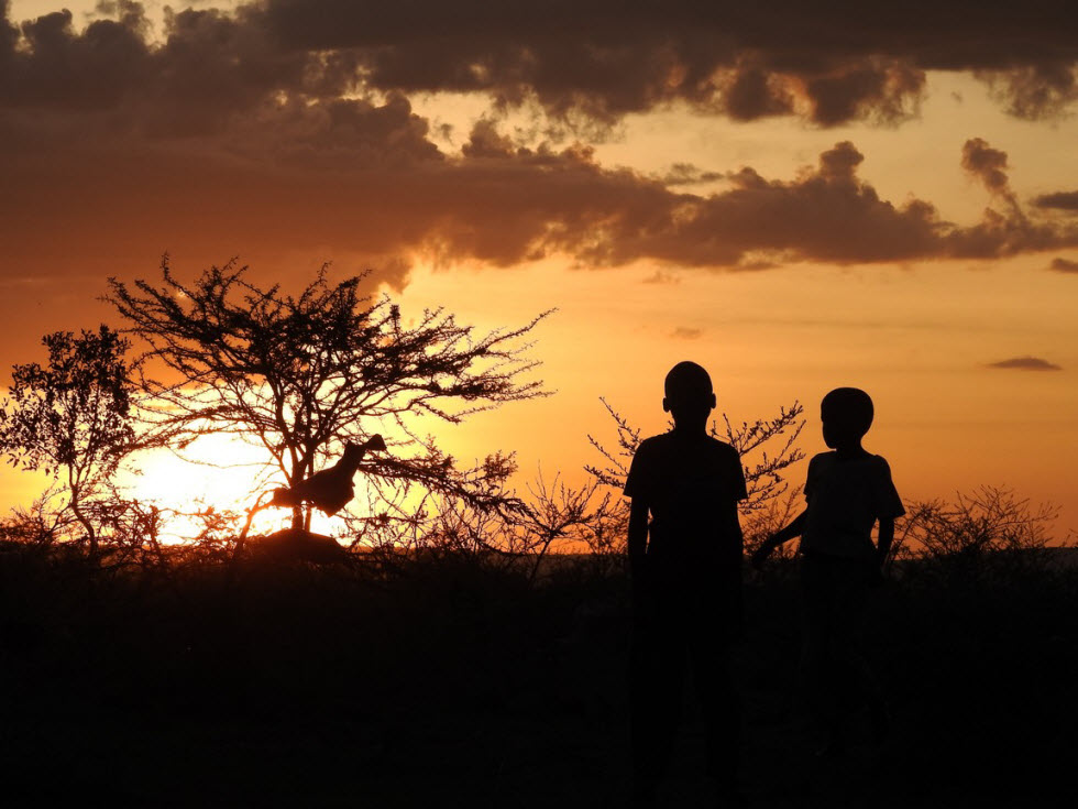 אנשים, סוואנות, בעלי חיים, שמיים אדירים. אפריקה  (צילום: רן אמיתי)