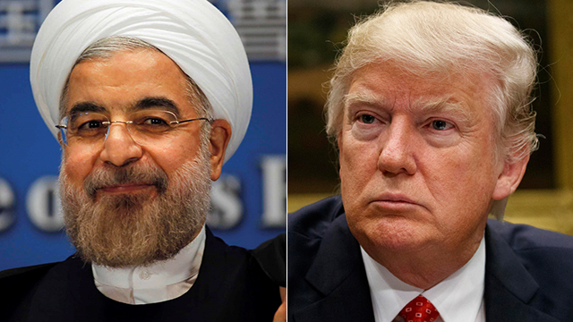 President Trump (R) wishes to stop periodically signing off on Iranian President Rouhani's compliance with nuclear deal (Photo: Reuters, AP) (Photo: Reuters, AP)
