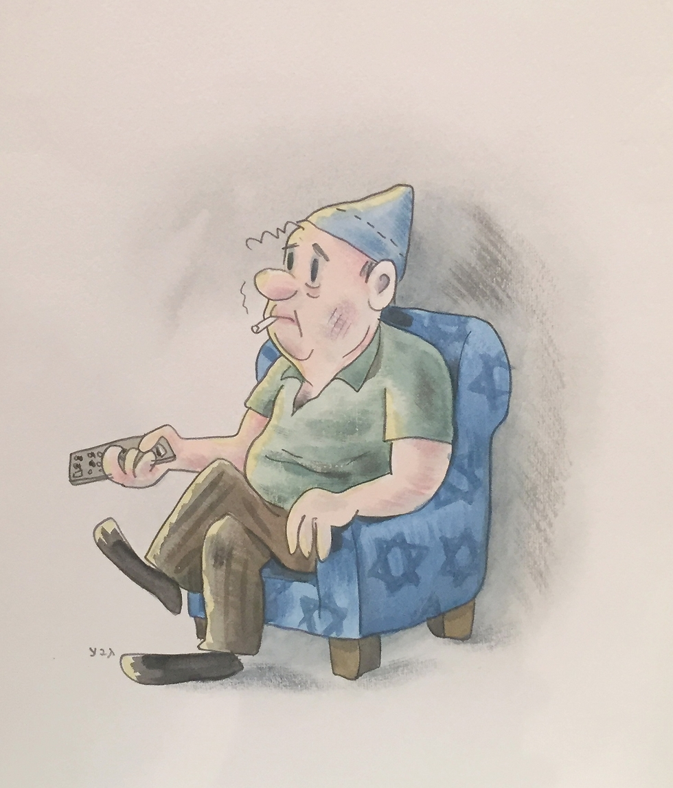 Caricaturist Dosh's iconic character Srulik, seen here in a takeoff by artist Dudu Geva, proudly sported a tembel hat