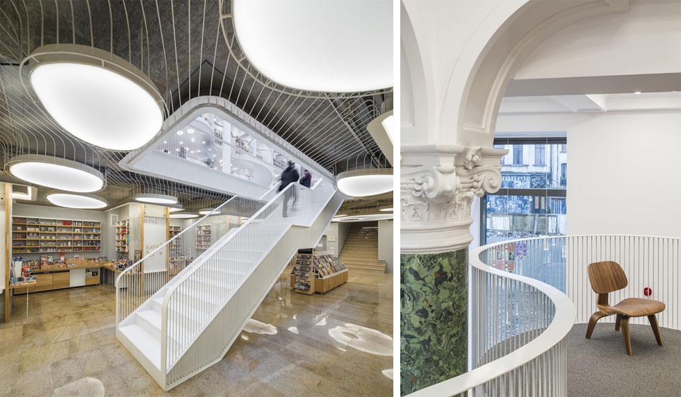 """מימין: פרט בקומת הגלריה החדשה שנוספה למבנה הישן. משמאל: נקודת הפתיחה של קומת המרתף הייתה הרבה פחות טובה משל שאר הבניין. בהיעדר עיטורים או מבנה ייחודי, """"נאלצו"""" המעצבים לייחד אותה בתקרת פלדה קלה, שבה שולבה תאורה מלאת אופי (צילום: Cosmin Dragomir)"""