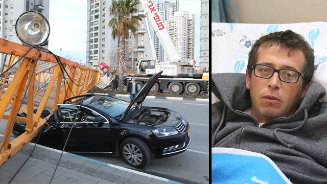 שוחט ומכוניתו אחרי קריסת המנוף (צילום: מוטי קמחי, שאול גולן) (צילום: מוטי קמחי, שאול גולן)