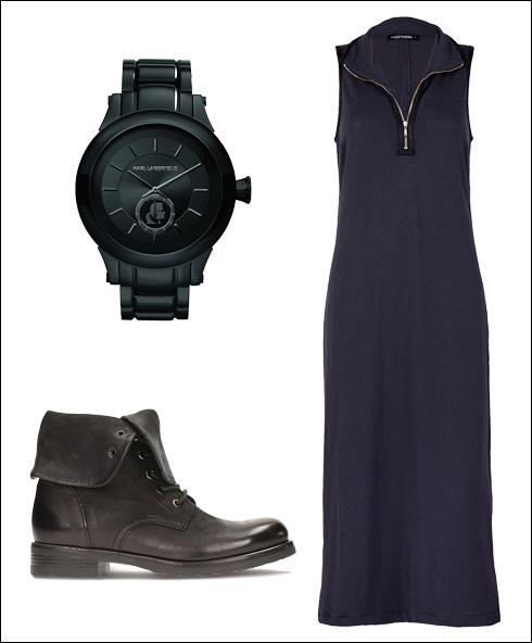שמלה: חגית טסה, 379 שקל / שעון: פדני, 2500 שקל / מגפיים: קלארקס, 999.90 שקל (צילום: תמוז רחמן והדס פרץ)