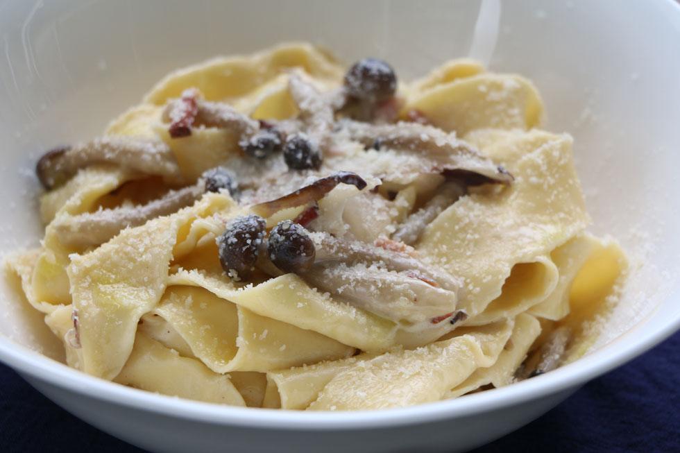 פסטה ברוטב שמנת ופטריות עם אנדיב (צילום: בת-חן דיאמנט)