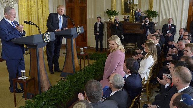 טראמפ ביקש משרה נתניהו לקום והודה לה (צילום: AFP) (צילום: AFP)