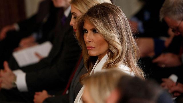 מלניה טראמפ במסיבת העיתונאים (צילום: AP) (צילום: AP)