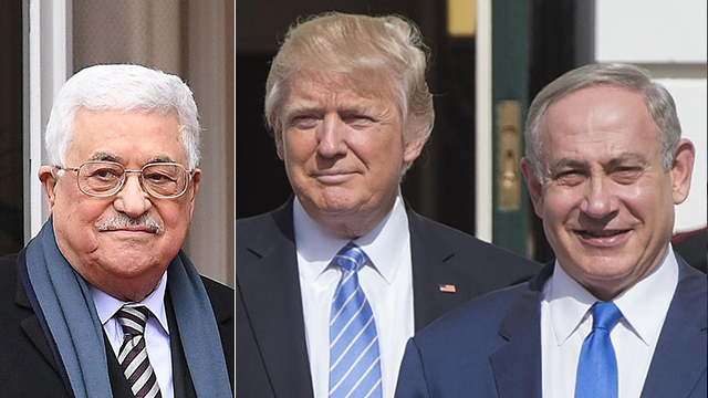 PA President Abbas, President Trump and PM Netanyahu (Photo: AFP)