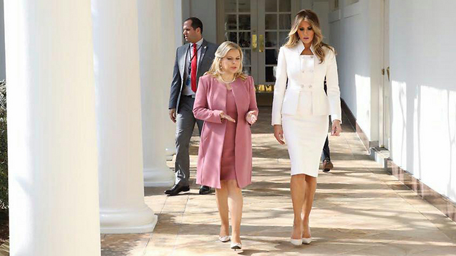 Sara Netanyahu with Melania Trump (Photo: Shmulik Almani)