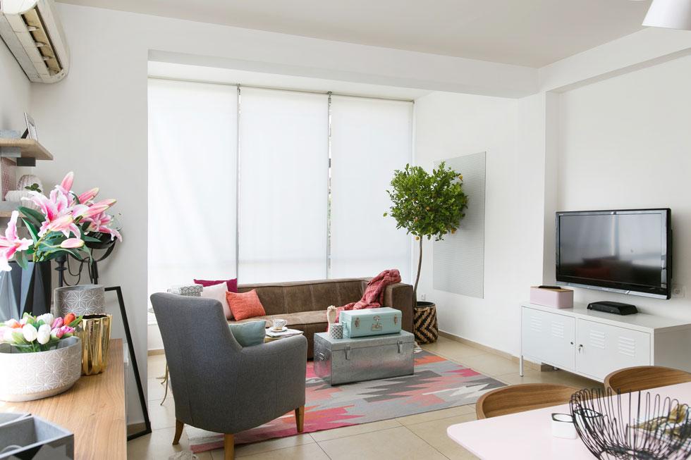 לסלון נבחרו רהיטים זולים: ספה ב-2,750 שקלים, שידת מדיה מתכתית ב-395, ומזוודות משמשות כשולחן קפה וגם לאחסון הצעצועים בסוף היום (צילום: שירן כרמל)