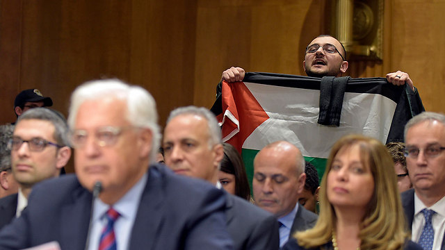 Friedman being heckled during Senate hearing by pro-Palestinian protestor (Photo: Reuters) (Photo: Reuters)