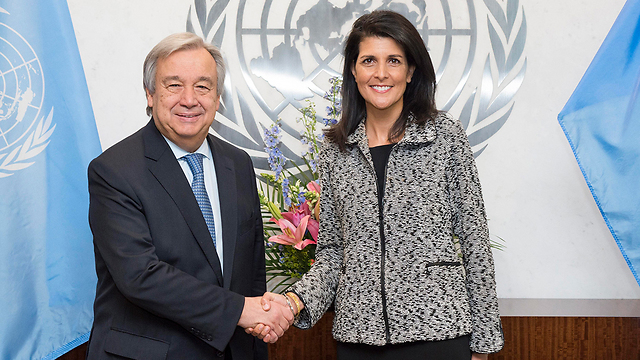Antonio Guterres with US Ambassador Haley (Photo: EPA)