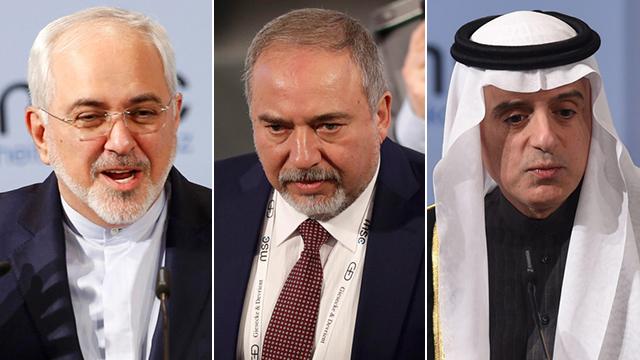 From Left to right: Mohammad Javad Zarif , Avigdor Liebmerman and Adel al-Jubeir (Photo: Reuters, AP, AFP)