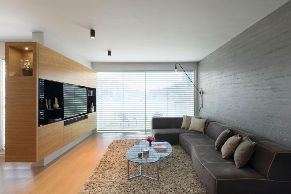 הרהיט השני המשמעותי שנבנה בדירה הוא חצי קיר נגרות, שעוטף את מסך הטלוויזיה. כך נראה הסלון במבט מכיוון המבואה (צילום: גדעון לוין)