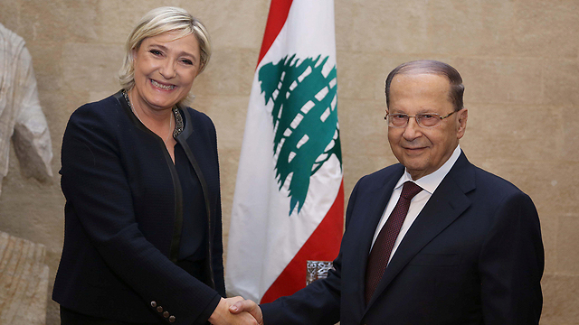 Le Pen with Lebanese President Michel Aoun (Photo: Reuters)