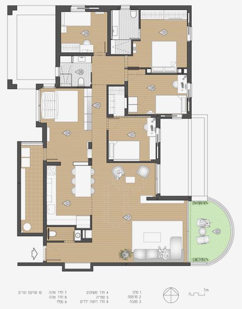 ואחריו. חדר ההורים קטן לטובת חדר ילדים נוסף (תוכנית: אסקולה שקד)