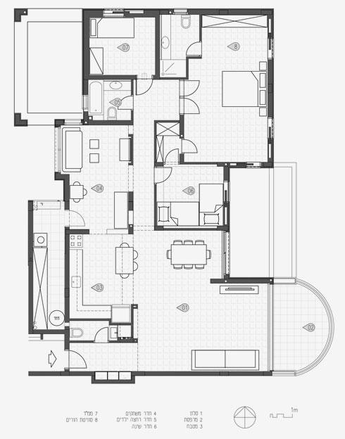 תוכנית הדירה לפני השיפוץ: 5 חדרים, 160 מ''ר (תוכנית: אסקולה שקד)