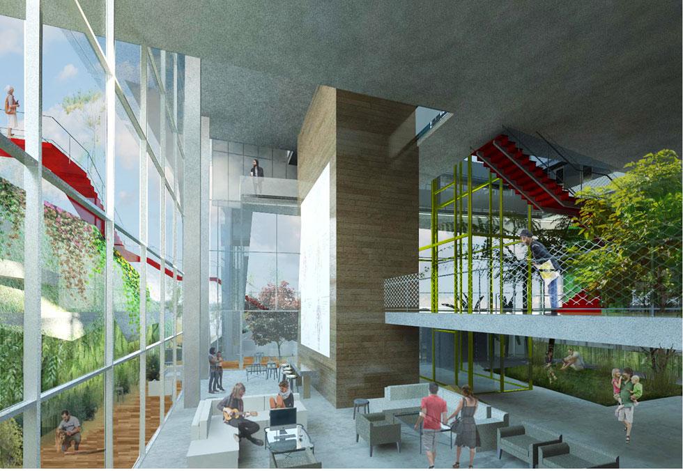 הדמיה של הפנים. השופטים כתבו שההצעה ''מייצרת מפגשים מעניינים ברמת הבניין וברמת הרחוב'' (הדמיה: אלי קרמר, שירי מוטס לוין ו-FAB314AW)