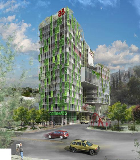 ההצעה הזוכה. הבניין נמצא בתוך שכונת מגורים (הדמיה: אלי קרמר, שירי מוטס לוין ו-FAB314AW)