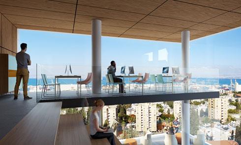 בין המרחבים המשותפים מרפסות פתוחות לנוף (הדמיה: ולדימיר ברודצקי- Imagin Studio)