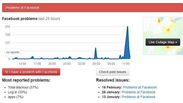 רף התלונות על התקלה בשעה האחרונה (צילום מסך)