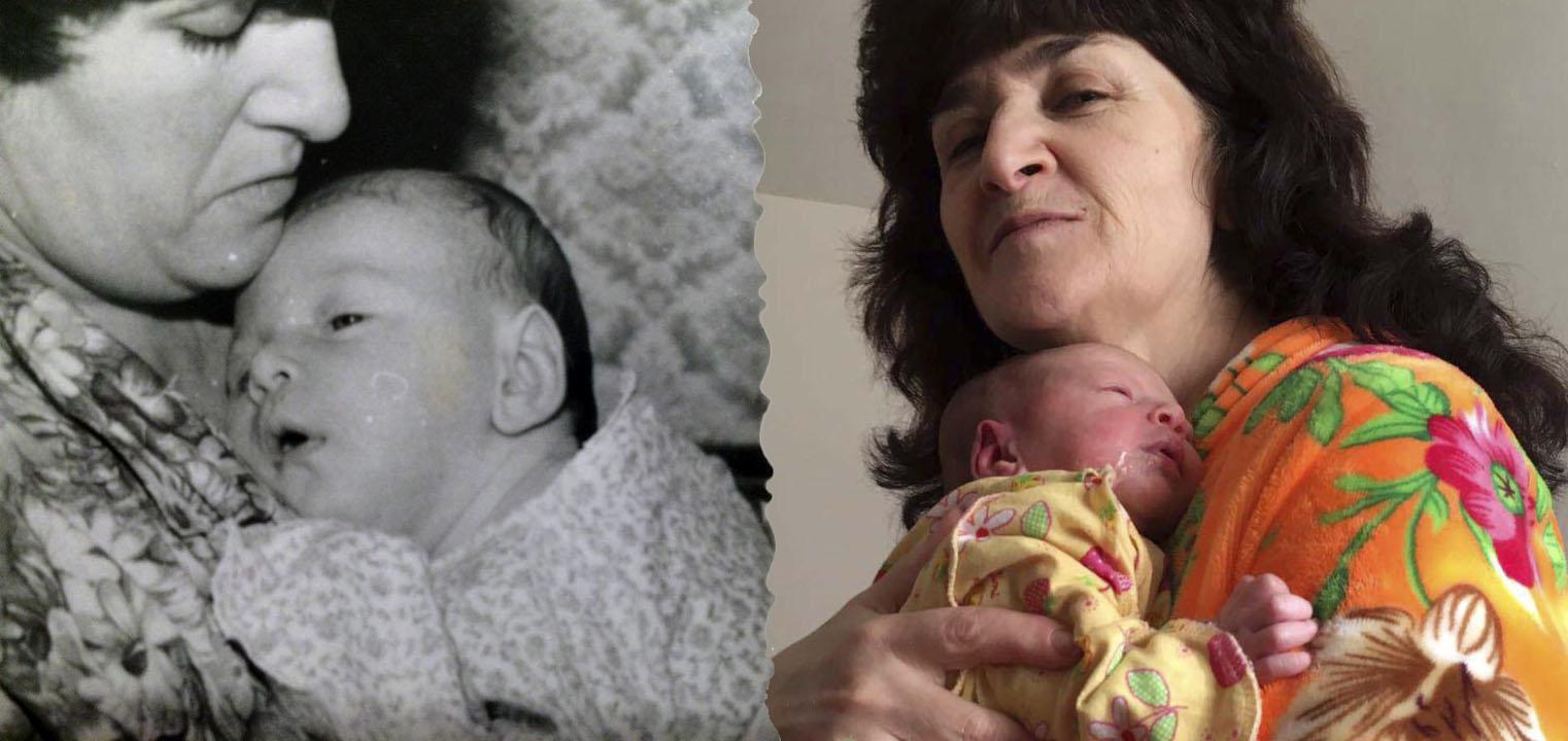 Мама Саши Мочаловой: слева - с дочкой 30 лет назад, справа - с внучкой