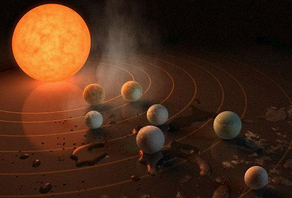 TRAPPIST-1 ושבעת כוכבי הלכת שלו, בתגלית השבוע (הדמיה: ESO)