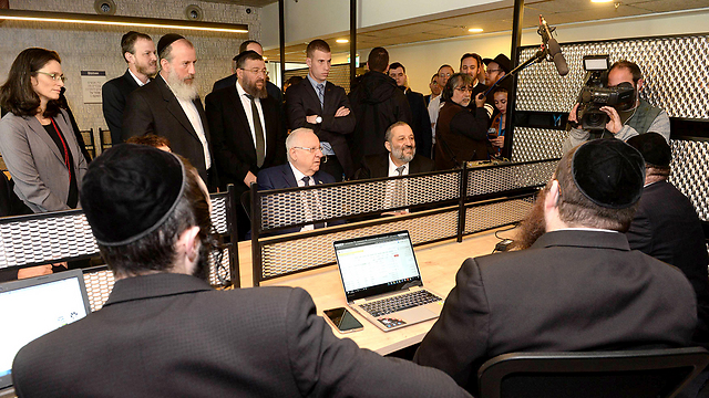 President Rivlin (C) with Interior Minister Deri at his left at the center (Photo: Mark Neiman/GPO)