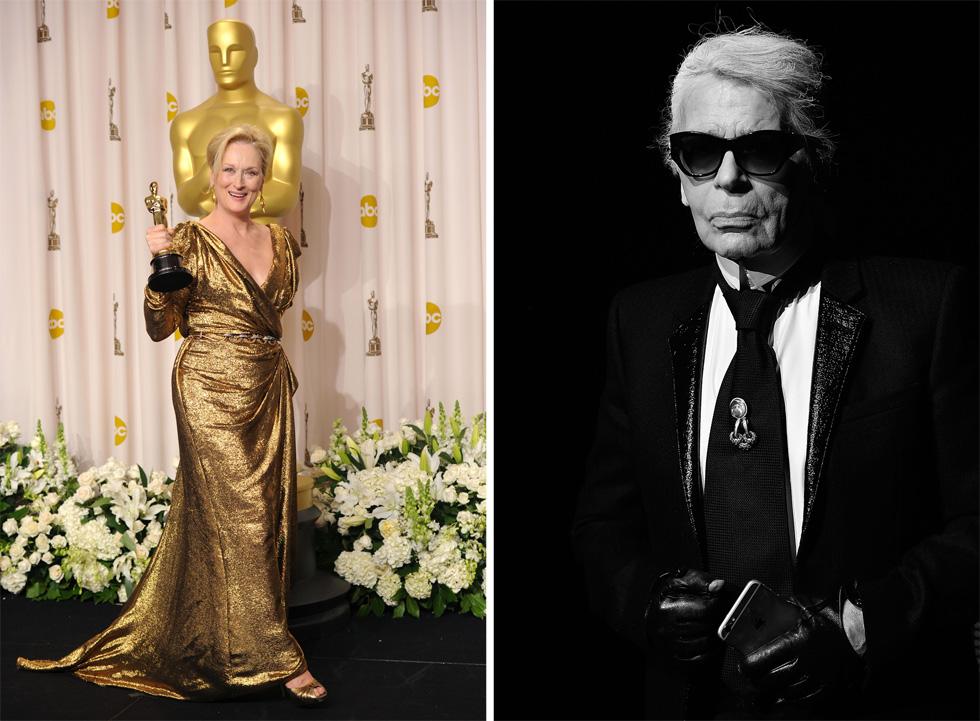 קרל לגרפלד טוען שהיא רוצה לקבל תשלום בשביל ללבוש שמלה לאוסקר (מימין), מריל סטריפ מאשימה אותו בשקרים חסרי בסיס (צילום: Gettyimages)