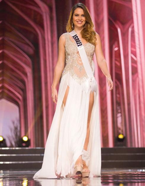 השמלה שכיכבה בתחרות מיס יוניברס הוצגה גם בשבוע האופנה בניו יורק. ים קפרס אנשל במהלך התחרות (צילום: Miss Universe)
